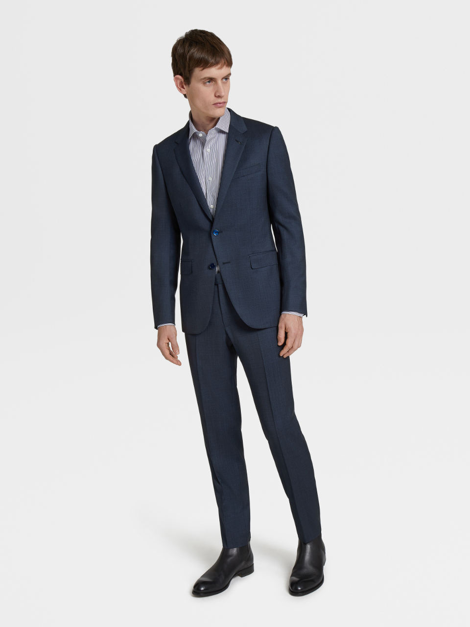 City Blue Solid  Wool Notch Lapel Suit
