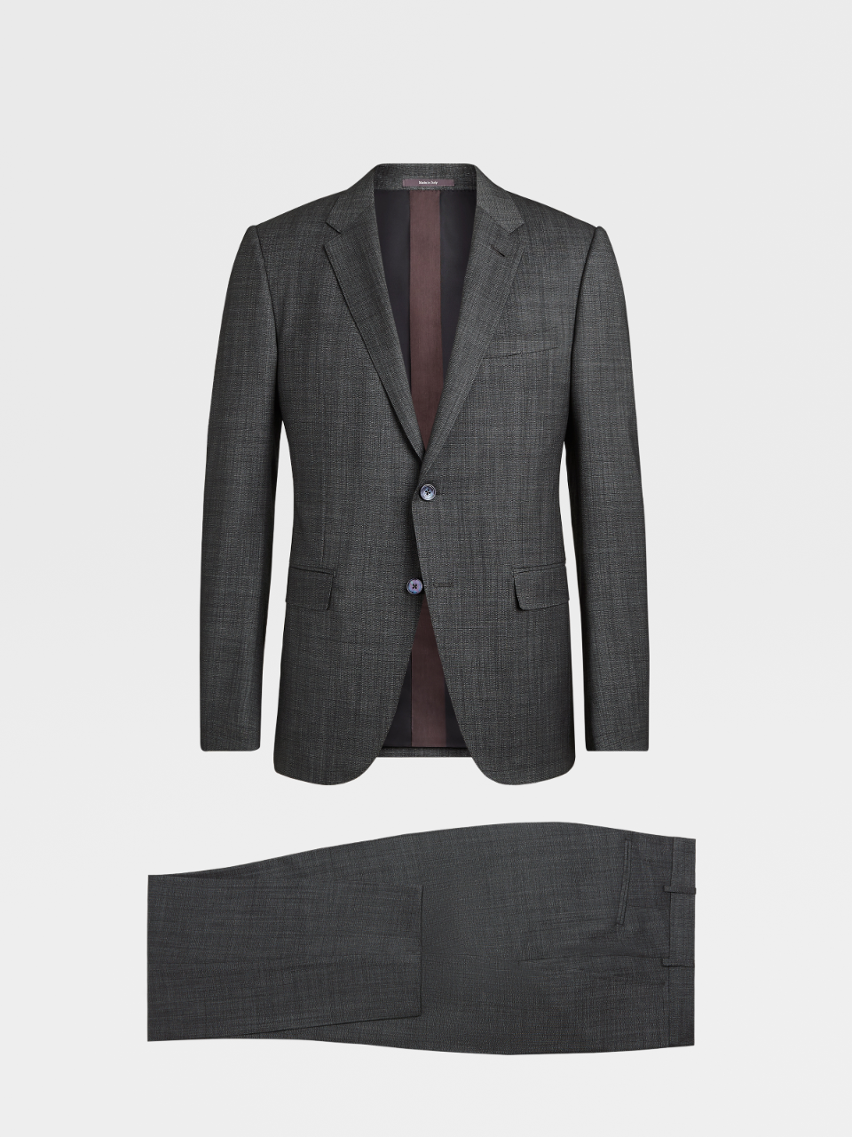 City Grey Solid  Wool Notch Lapel Suit