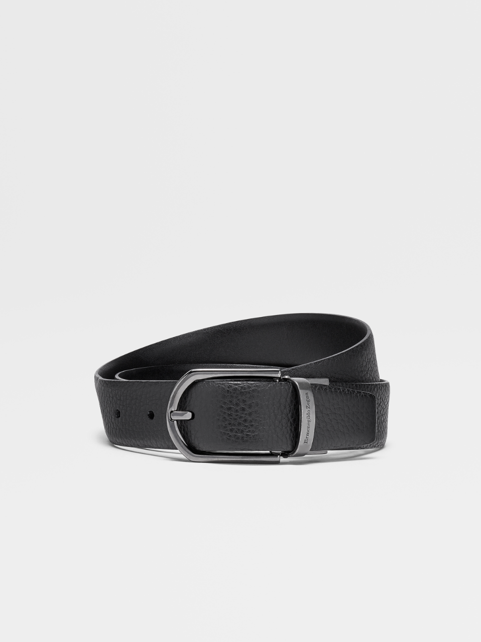 Black Grained Calfskin Belt