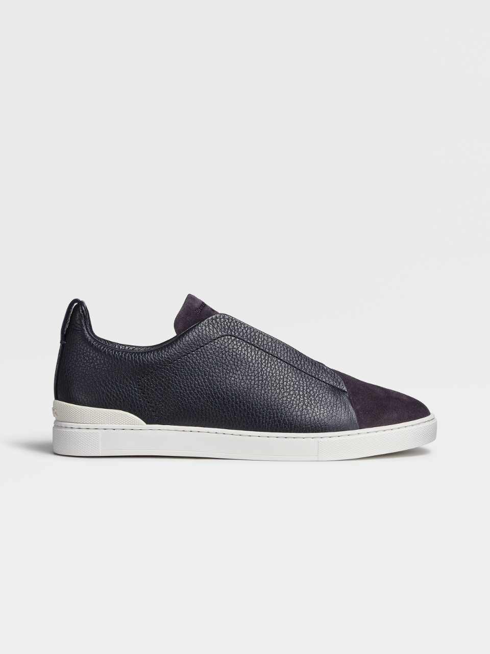 Grained Calfskin And Suede Triple Stitch Sneakers