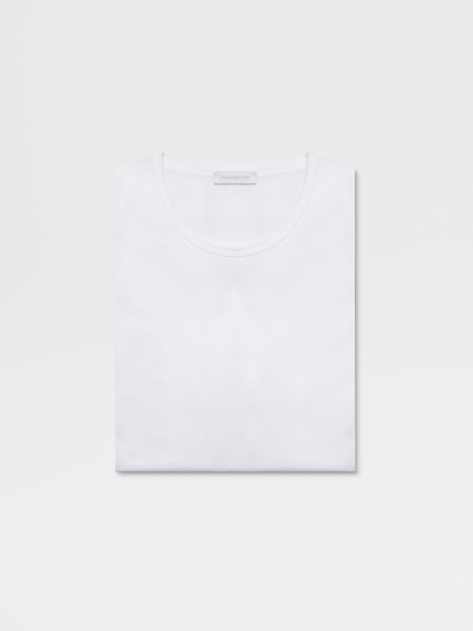 White Cotton Round Neck T-Shirt