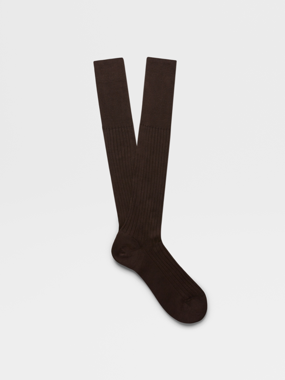 Rib Brown Knee Socks