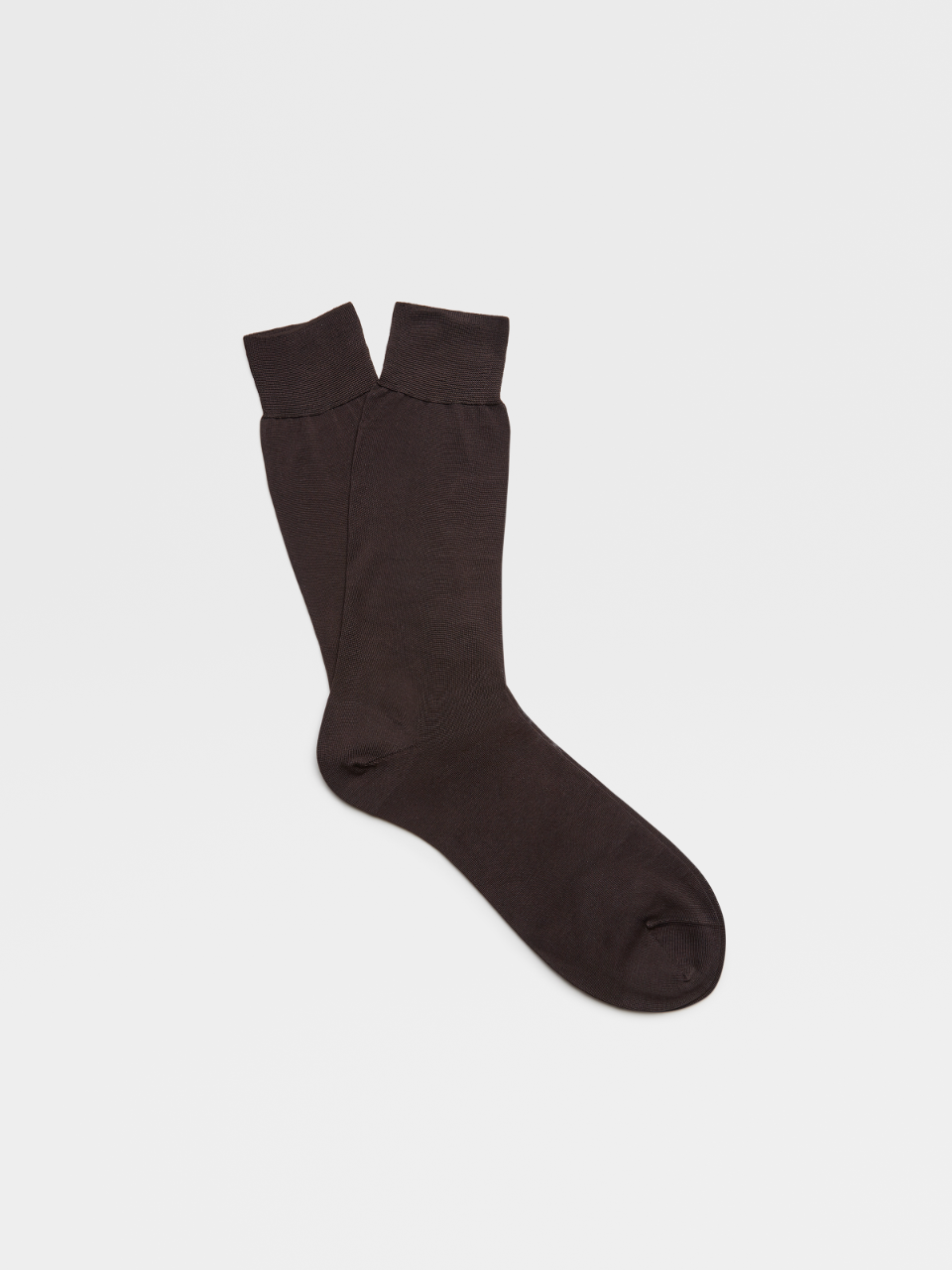 Plain Brown Cotton Mid Calf Socks