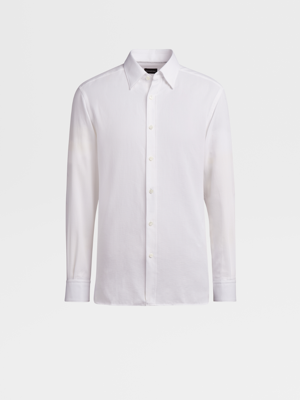 White Grey Piping Cotton Shirt