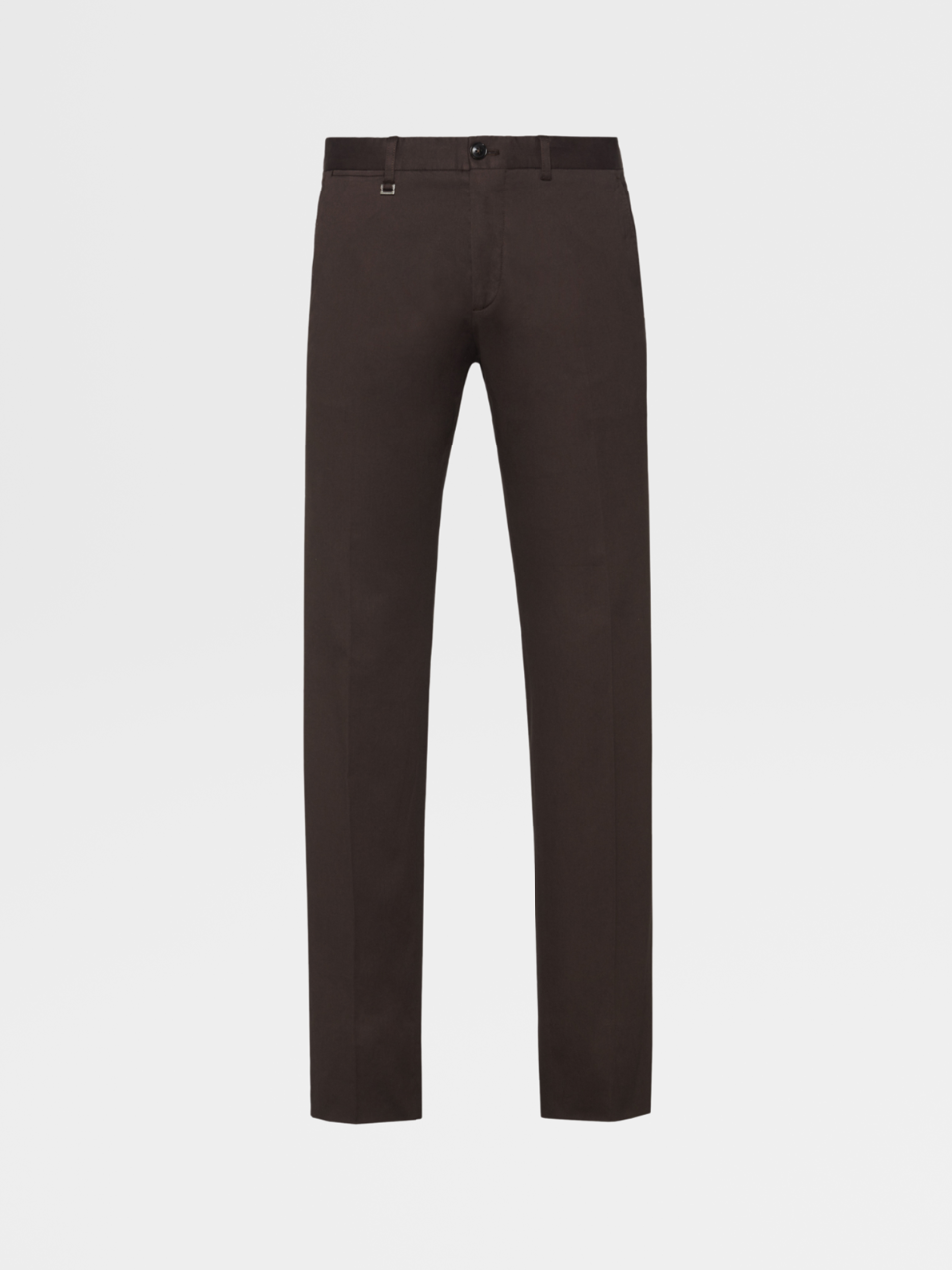 Brown Stretch-Cotton Pants