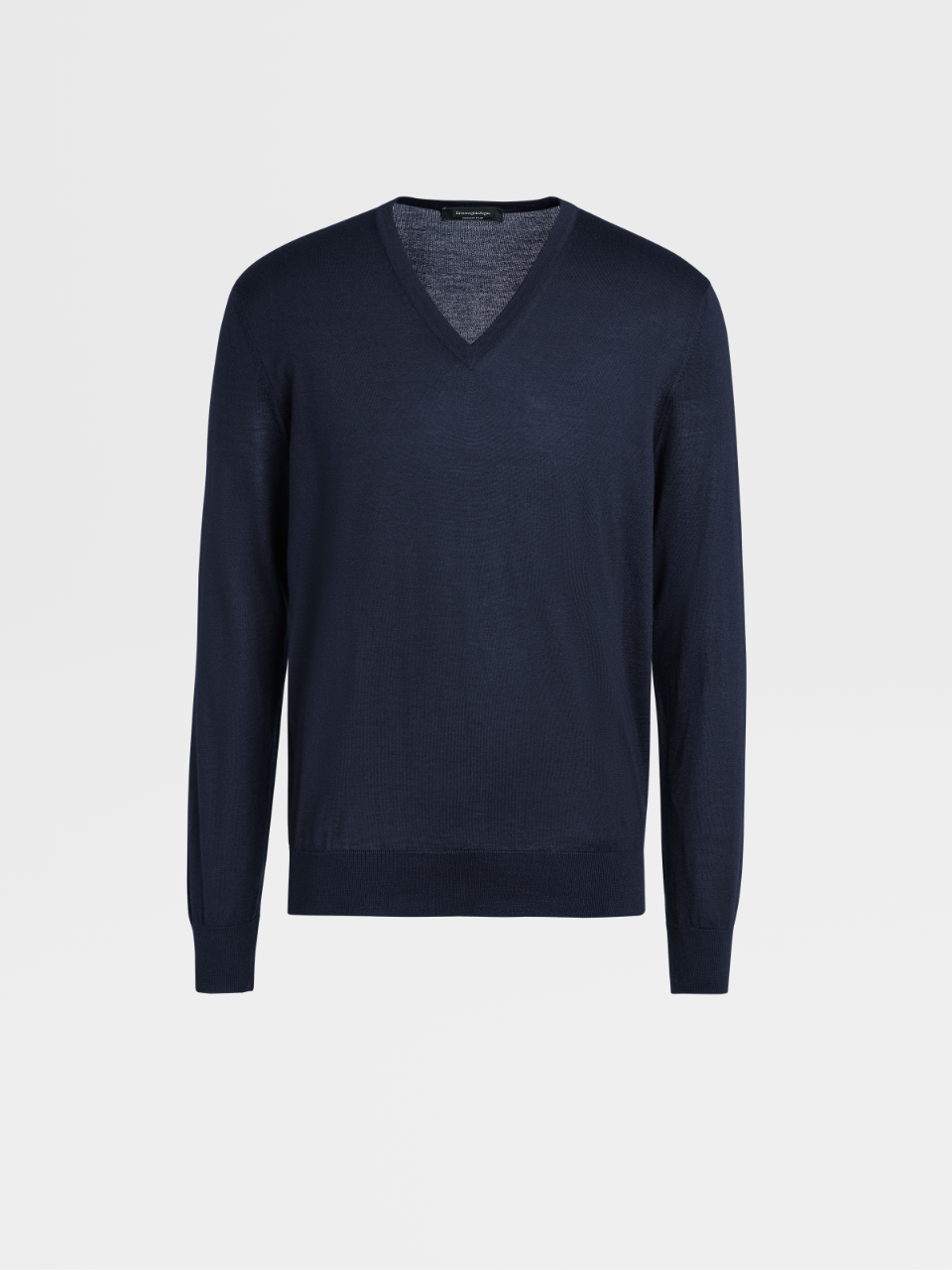 Navy Blue Cashmere And Silk Jumper