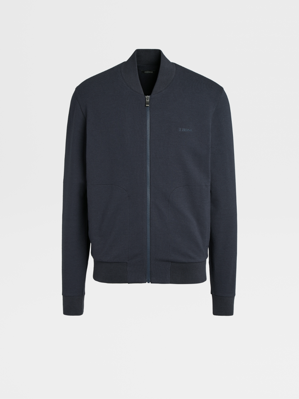 Navy Cotton Modal Full Zip Blouson